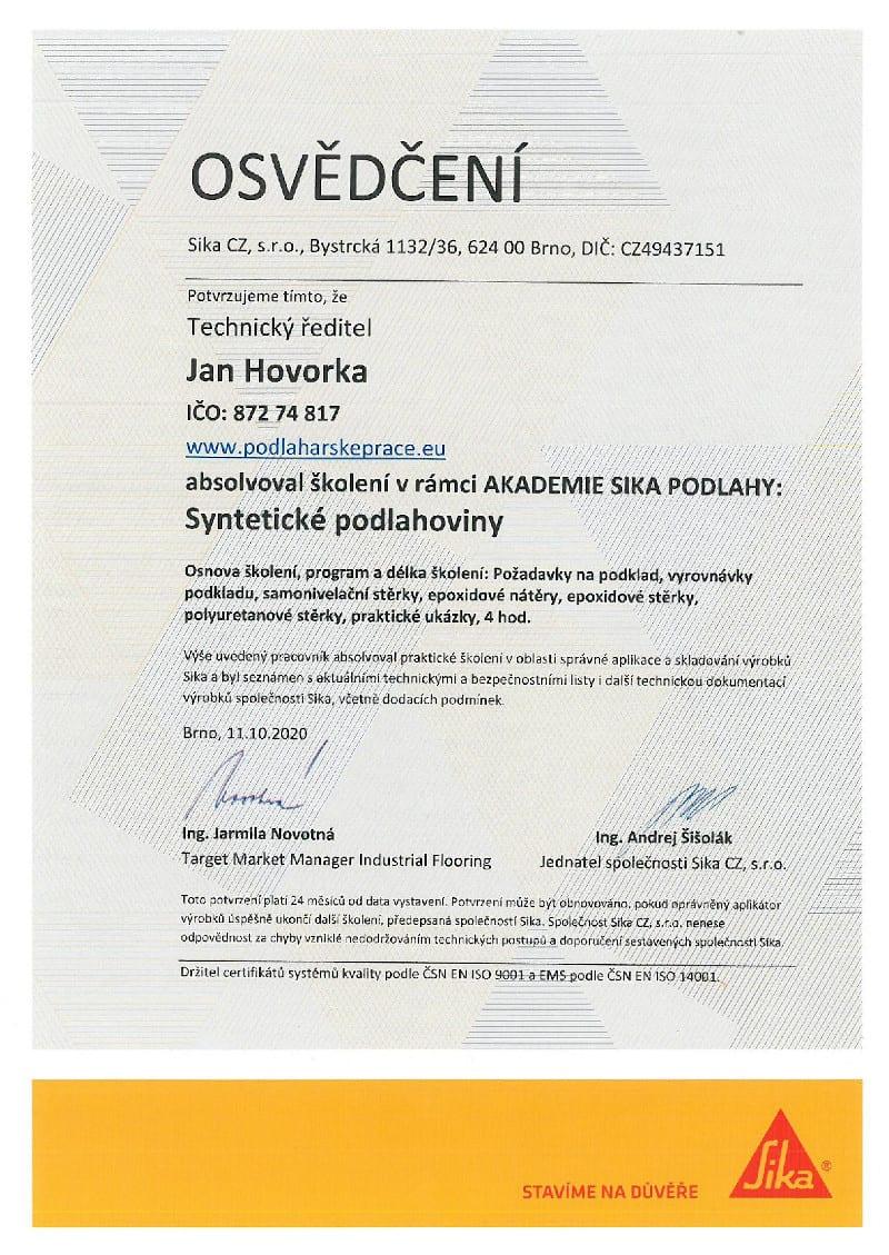 Certifikát Jan Hovorka